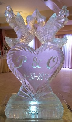 Lovebirds on solid heart with initials and date