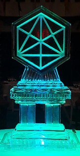 Ice Matters Snowfilled and Carved Around Symbol Logo on Column Base