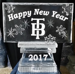Logo with snowflake accents and Happy New Year, date in base
