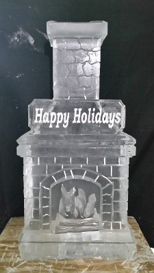 Fireplace with Chimney and Happy Holiday Plaque