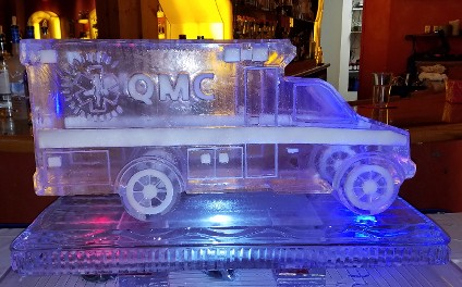 Ice Matters Snowfilled Logo on Carved Emergency Vehicle