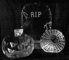 Tombstone, Jack-o-Lantern and Spider Wed